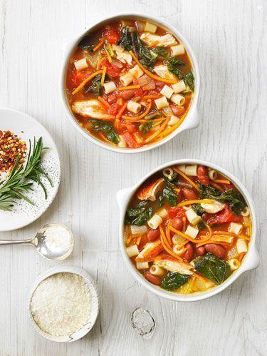 """<p>This is a twist on the classic pasta fagioli soup, using shredded chicken breast, red kidney beans, and Swiss chard. At 345 calories per serving, it is a filling and low-calorie meal.</p><p>Get the <a href=""""https://www.delish.com/uk/cooking/recipes/a30387384/chicken-chard-pasta-fagioli-recipe/"""" rel=""""nofollow noopener"""" target=""""_blank"""" data-ylk=""""slk:Chicken and Chard Pasta Fagioli"""" class=""""link rapid-noclick-resp"""">Chicken and Chard Pasta Fagioli</a> recipe.</p>"""