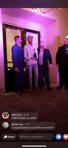 Nicholas S. Warrender, CEO of Lifted Made, accepting the award on behalf of Lifted Made, for the Best in Show award at the prestigious CBD Events Show in La Jolla, California, for Lifted Made's flagship brand's Urb Finest Flowers lineup of products.