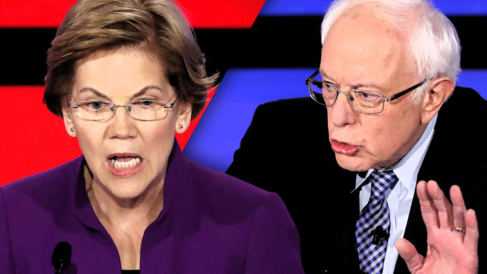 Sen. Elizabeth Warren and Sen. Bernie Sanders. (Photo illustration: Yahoo News; photos: Shannon Stapleton/Reuters)