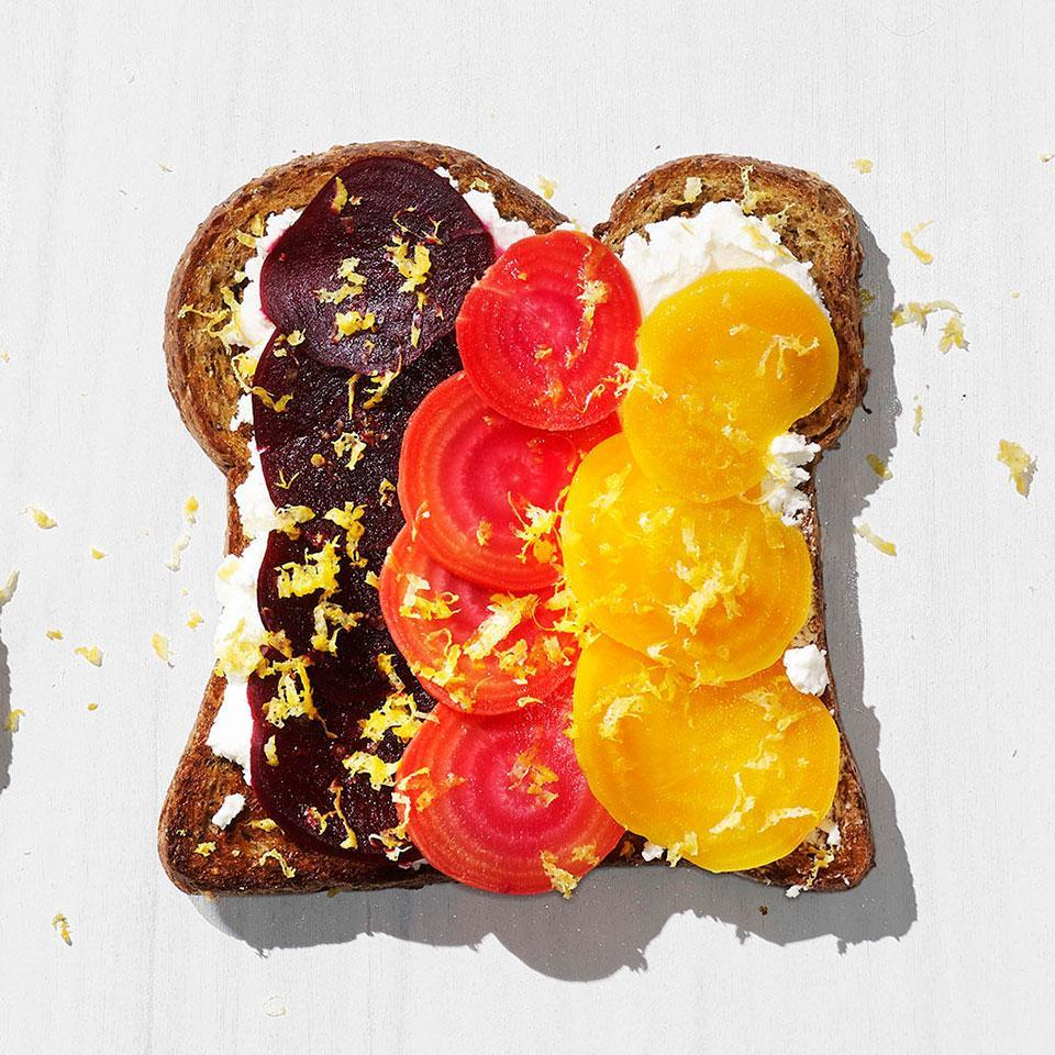 <p>A little lemon zest perks up this healthy toast with beets and goat cheese.</p>