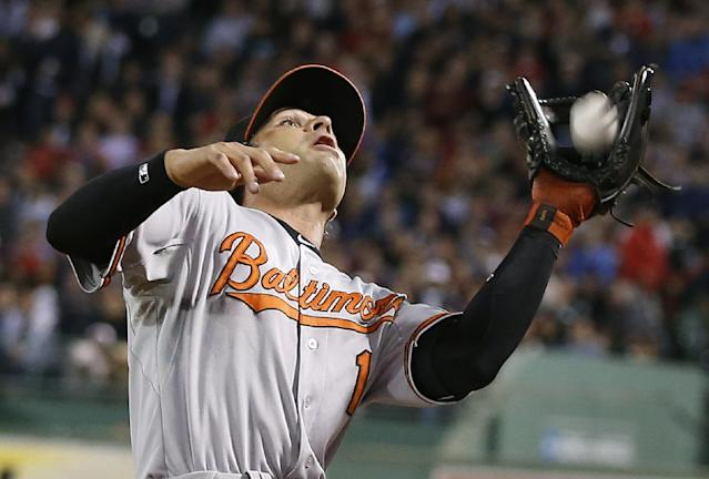 Baltimore Orioles' Brian Roberts makes the catch for the out on a pop foul by Boston Red Sox's Will Middlebrooks in the second inning of a baseball, Thursday, Aug. 29, 2013, in Boston. (AP Photo/Michael Dwyer)