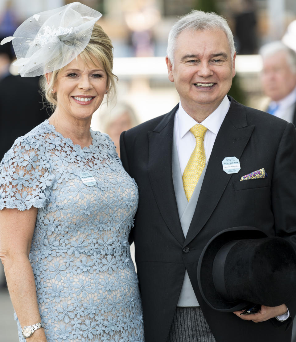EPSOM, ENGLAND - JUNE 01: Eamonn Holmes and Ruth Langsford attend the Epsom Derby at Epsom Racecourse on June 1, 2019 in Epsom, England. (Photo by Mark Cuthbert/UK Press via Getty Images)