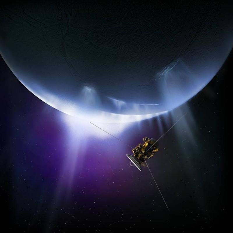 Cassini pictured making a fly-by of Enceladus - Credit: Nasa