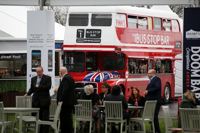 Horse Racing - Grand National Festival - Aintree Racecourse, Liverpool, Britain - April 13, 2018 General view of a bar in a London bus during Ladies Day at the Grand National Festival REUTERS/Andrew Yates