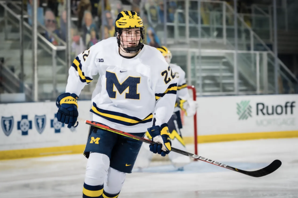 It would be an absurdly rare move for a No. 1 overall pick to return to the NCAA instead of turning pro, but Michigan's Owen Power may do just that. (Getty)