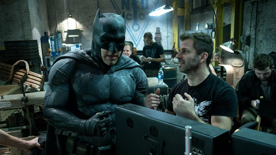 Zack Snyder on the 'Justice League' set with Ben Affleck as Batman. (Credit: Warner Bros)