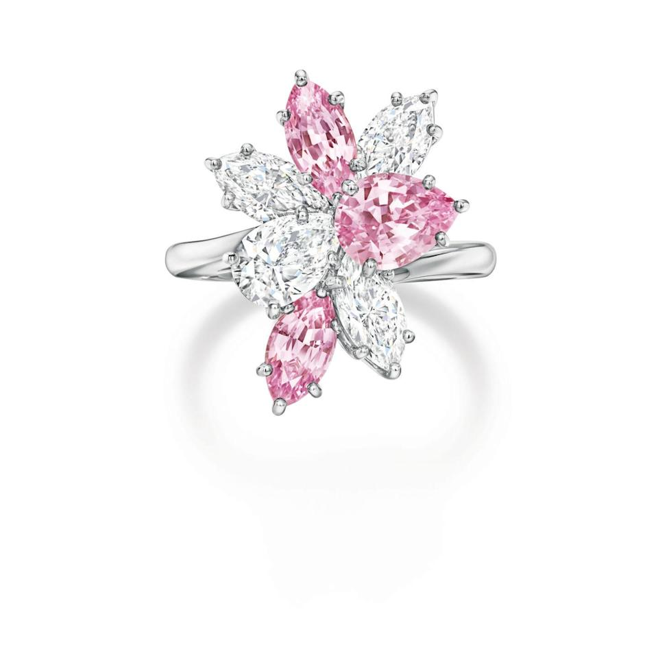 """<p><a class=""""link rapid-noclick-resp"""" href=""""https://www.harrywinston.com/en"""" rel=""""nofollow noopener"""" target=""""_blank"""" data-ylk=""""slk:SHOP NOW"""">SHOP NOW</a></p><p>Harry Winston's eye-catching ring contains marquise-cut pink sapphires and white diamonds for a spectacular effect. </p><p>Pink sapphire and diamond ring, price on request, <a href=""""https://www.harrywinston.com/en"""" rel=""""nofollow noopener"""" target=""""_blank"""" data-ylk=""""slk:Harry Winston"""" class=""""link rapid-noclick-resp"""">Harry Winston</a>.</p>"""