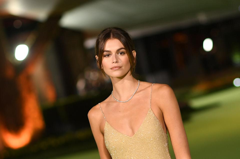 Us actress/model Kaia Gerber arrives for the Academy Museum of Motion Pictures opening gala on September 25, 2021 in Los Angeles, California. (Photo by VALERIE MACON / AFP) (Photo by VALERIE MACON/AFP via Getty Images)