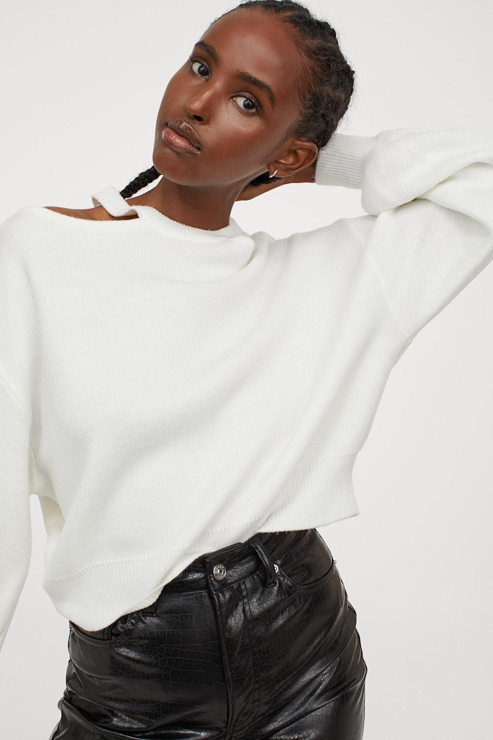 <p>The cutouts of this <span>H&amp;M Open-shoulder Sweater</span> ($25) make it so edgy.</p>