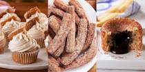 """<p>Churros, people. <a href=""""https://www.delish.com/uk/cooking/recipes/a29733984/easy-churros-recipe/"""" rel=""""nofollow noopener"""" target=""""_blank"""" data-ylk=""""slk:CHURROS"""" class=""""link rapid-noclick-resp"""">CHURROS</a>. What's not to love? Perfectly fried and coated in the most delicious cinnamon sugar, there's nothing quite like it. Which is why we've pulled together our favourite churro recipes, we're talking <a href=""""https://www.delish.com/uk/cooking/recipes/a29733984/easy-churros-recipe/"""" rel=""""nofollow noopener"""" target=""""_blank"""" data-ylk=""""slk:Classic Homemade Churros"""" class=""""link rapid-noclick-resp"""">Classic Homemade Churros</a>, alongside <a href=""""https://www.delish.com/uk/cooking/recipes/a29984869/churro-cookies-recipe/"""" rel=""""nofollow noopener"""" target=""""_blank"""" data-ylk=""""slk:Churro Cookies"""" class=""""link rapid-noclick-resp"""">Churro Cookies</a>, <a href=""""https://www.delish.com/uk/cooking/recipes/a29261112/best-churro-waffle-dippers-recipe/"""" rel=""""nofollow noopener"""" target=""""_blank"""" data-ylk=""""slk:Churro Waffle Dippers"""" class=""""link rapid-noclick-resp"""">Churro Waffle Dippers</a> and even <a href=""""https://www.delish.com/uk/cooking/recipes/a35690929/churro-pancakes-recipe/"""" rel=""""nofollow noopener"""" target=""""_blank"""" data-ylk=""""slk:Churro Pancakes"""" class=""""link rapid-noclick-resp"""">Churro Pancakes</a>. The possibilities really are endless... For a selection of easy-to-make churro recipes, keep reading.</p>"""