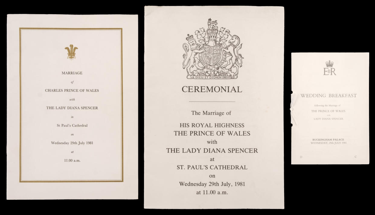 The order of service, ceremonial details and wedding breakfast programme