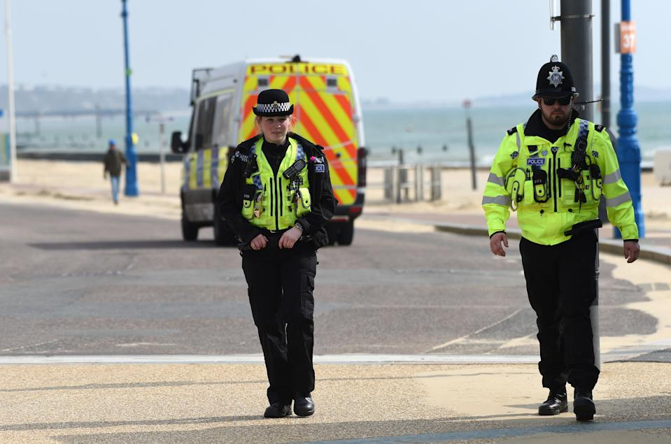 BOURNEMOUTH, ENGLAND - MARCH 28: Police patrol the beach on March 28, 2020 in Bournemouth, United Kingdom. The Coronavirus (COVID-19) pandemic has spread to many countries across the world, claiming over 25,000 lives and infecting hundreds of thousands more. (Photo by Finnbarr Webster/Getty Images)