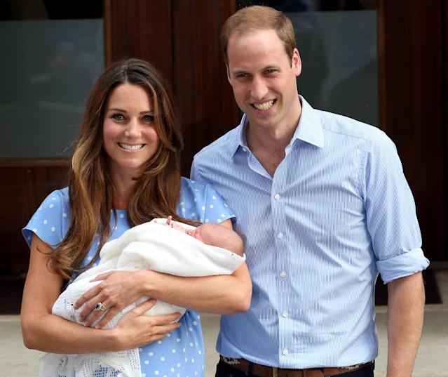 William and Kate with Prince George outside the Lindo Wing in 2013. (Getty Images)