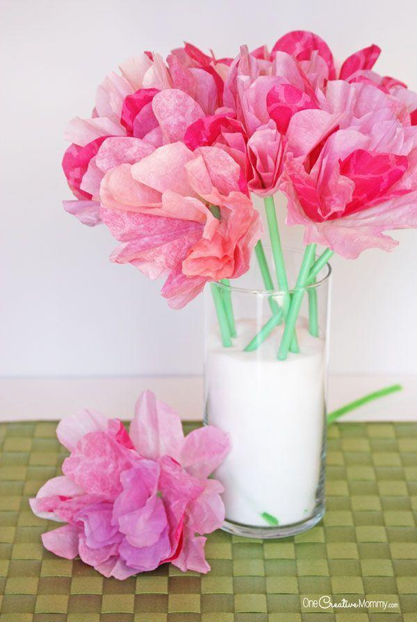 """<p>With a big boost of color, these coffee filter flowers make the perfect long-lasting bouquet. </p><p><em><a href=""""http://onecreativemommy.com/gorgeous-coffee-filter-flowers-tutorial/"""" rel=""""nofollow noopener"""" target=""""_blank"""" data-ylk=""""slk:Get the tutorial at One Creative Mommy »"""" class=""""link rapid-noclick-resp"""">Get the tutorial at One Creative Mommy »</a></em><br></p>"""