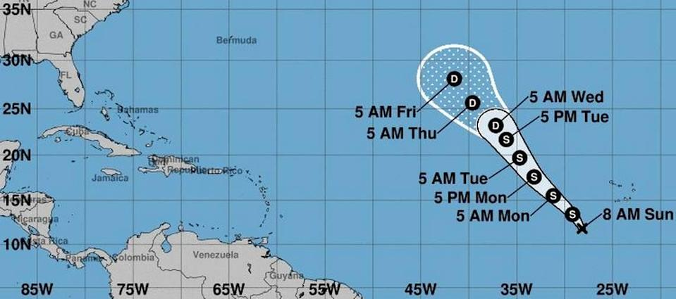 The 8 a.m. Sunday projection of Tropical Depression 17's path.
