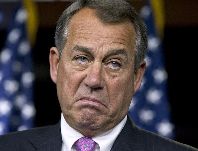 House Speaker John Boehner, R-Ohio, pauses while meeting with reporters during a news conference on Capitol Hill in Washington, Thursday, Feb. 28, 2013, to answer questions about the impending automatic spending cuts that take effect March 1.  (AP Photo/J. Scott Applewhite)