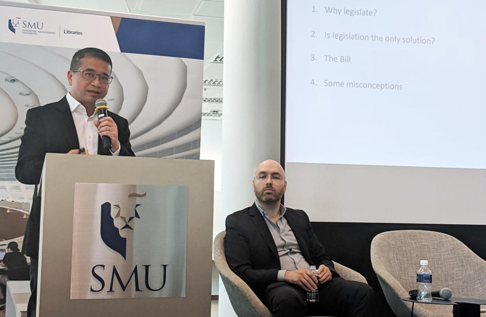 Senior Minister of State for Law and Health Edwin Tong speaking at the Truth and Lies: Trust in Times of Information Disorder forum held at the Singapore Management University on 3 April, 2019. (PHOTO: Yahoo News Singapore)