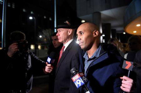 Former Minneapolis police officer Mohamed Noor and his attorney Tom Plunkett (L) leave the Hennepin County jail after posting bail in Minneapolis, Minnesota, U.S. March 21, 2018.  REUTERS/Craig Lassig
