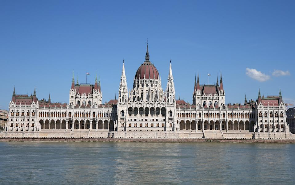 The Hungarian Parliament Building is seen prior to the UEFA Euro 2020 Championship Round.