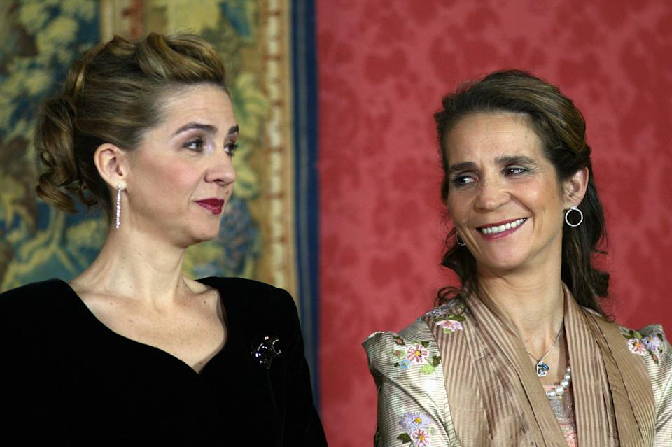 Infanta Cristina And Infanta Elena Attend King Juan Carlos Of Spain'S 70Th Birthday Celebrations At The El Pardo Palace Near Madrid. (Photo by Mark Cuthbert/UK Press via Getty Images)
