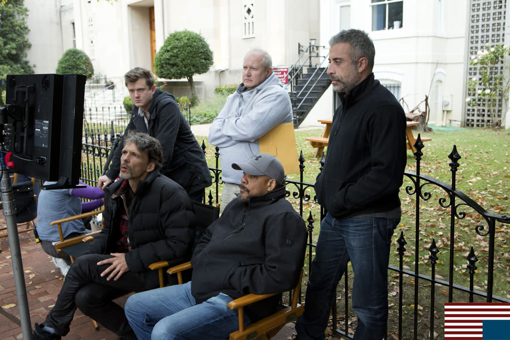 Clockwise, from far left, standing: executive producer Beau Willimon; unit production manager Don Hug; executive producer John Melfi; [seated] director Carl Franklin; and director of photography Eigil Bryld.