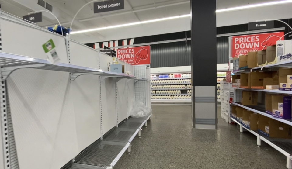 Empty Coles shelves as Victoria is set to enter a 7-day lockdown.