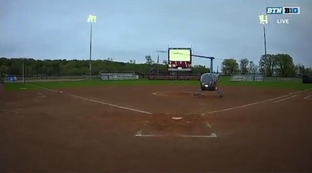 The Big Ten softball tournament used a helicopter to dry off the field after a rain delay on Friday in Madison, Wisconsin. (Twitter/BigTenNetwork)