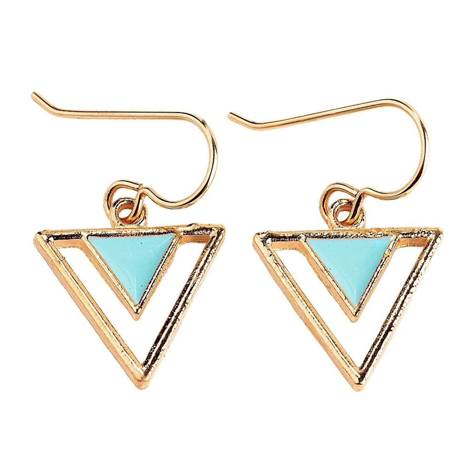 <p>How cute are these <span>Gold and Aqua Blue Enameled Tribal Triangle Drop Earrings</span> ($20)!? They are perfect for spring!</p>