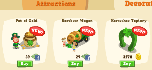 St. Patrick's Day items in Happy Island