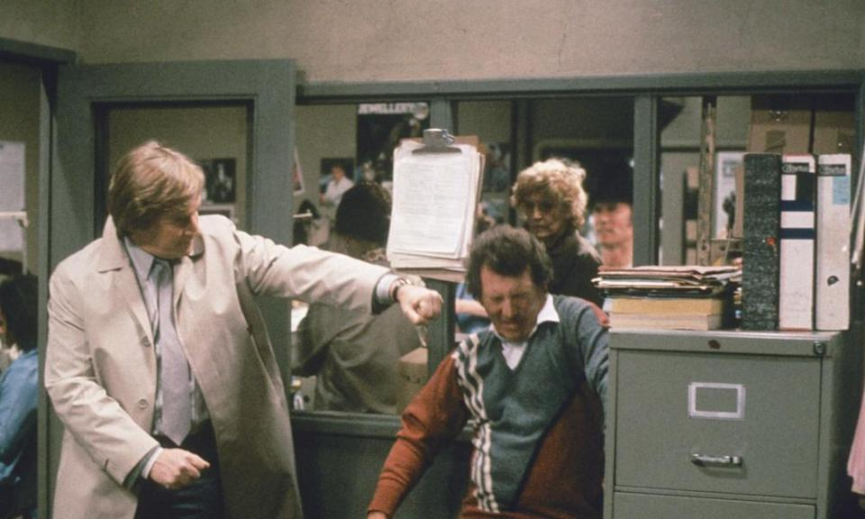 William Roache, left, playing Ken Barlow takes on Johnny Briggs as Mike Baldwin in a 1986 episode of Coronation Street.