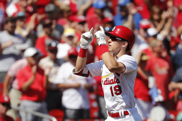 St. Louis Cardinals' Tommy Edman celebrates as he rounds the bases after hitting a solo home run during the third inning of a baseball game against the Washington Nationals Wednesday, Sept. 18, 2019, in St. Louis. (AP Photo/Jeff Roberson)