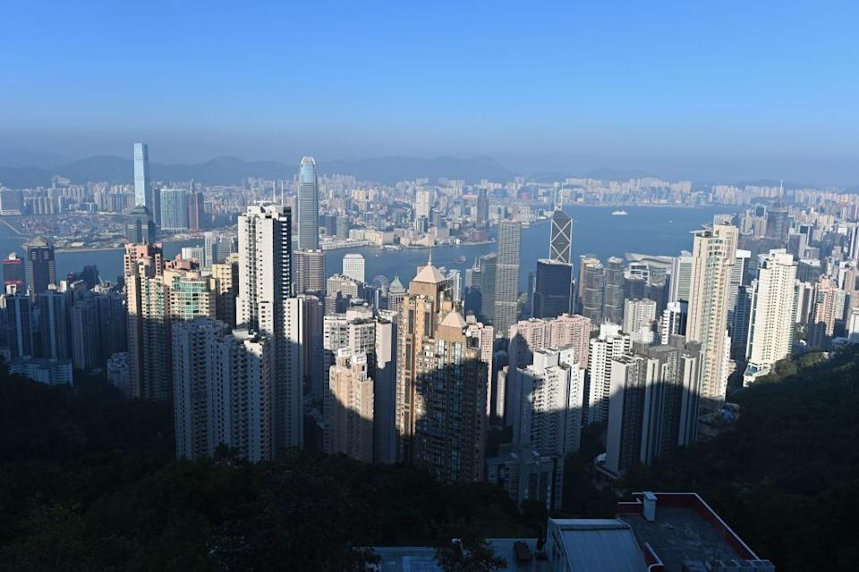 This picture taken on November 27, 2019 shows the Hong Kong skyline as seen from a lookout point on the city's Peak district.