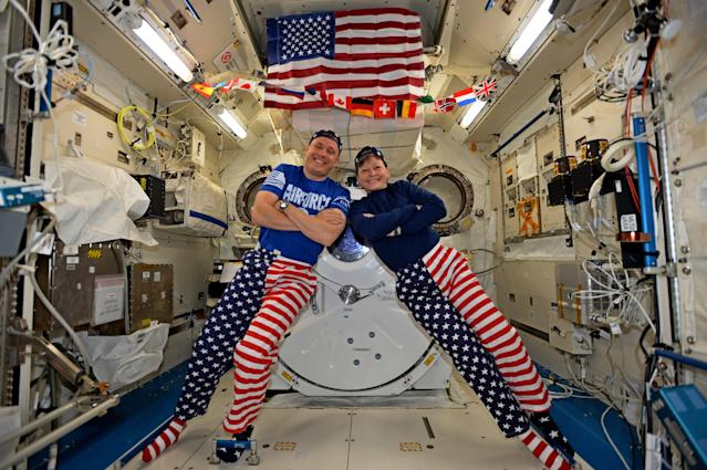 "<p>NASA astronauts Jack Fischer and Peggy Whitson celebrated the Fourth of July from over 250 miles above Earth on the International Space Station. Fischer shared this photo on social media and said, ""We sometimes have issues standing up straight, but we have no problems at all showing our American pride-Happy 4th!"" (Photo: NASA) </p>"