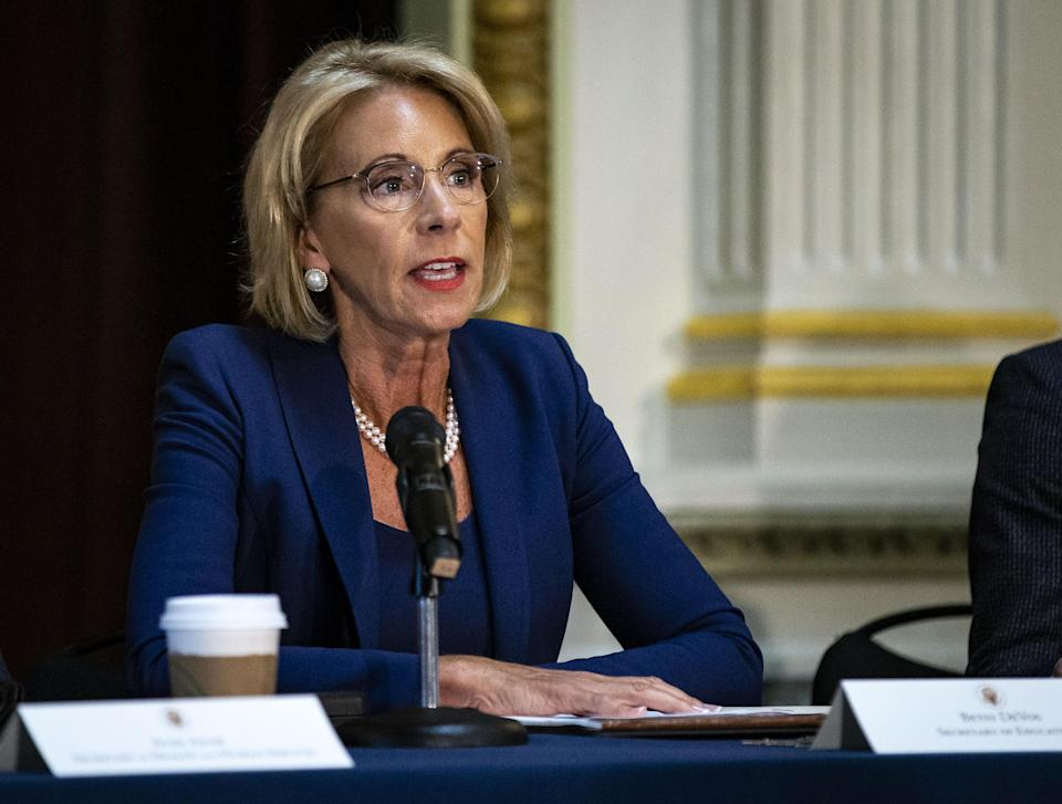 U.S. Secretary of Education Betsy DeVos, seen here in Washington, D.C. in August, has released new rules to punish sexual violence on campuses while ensuring due process for those accused of it. (Photo by Al Drago/Bloomberg)