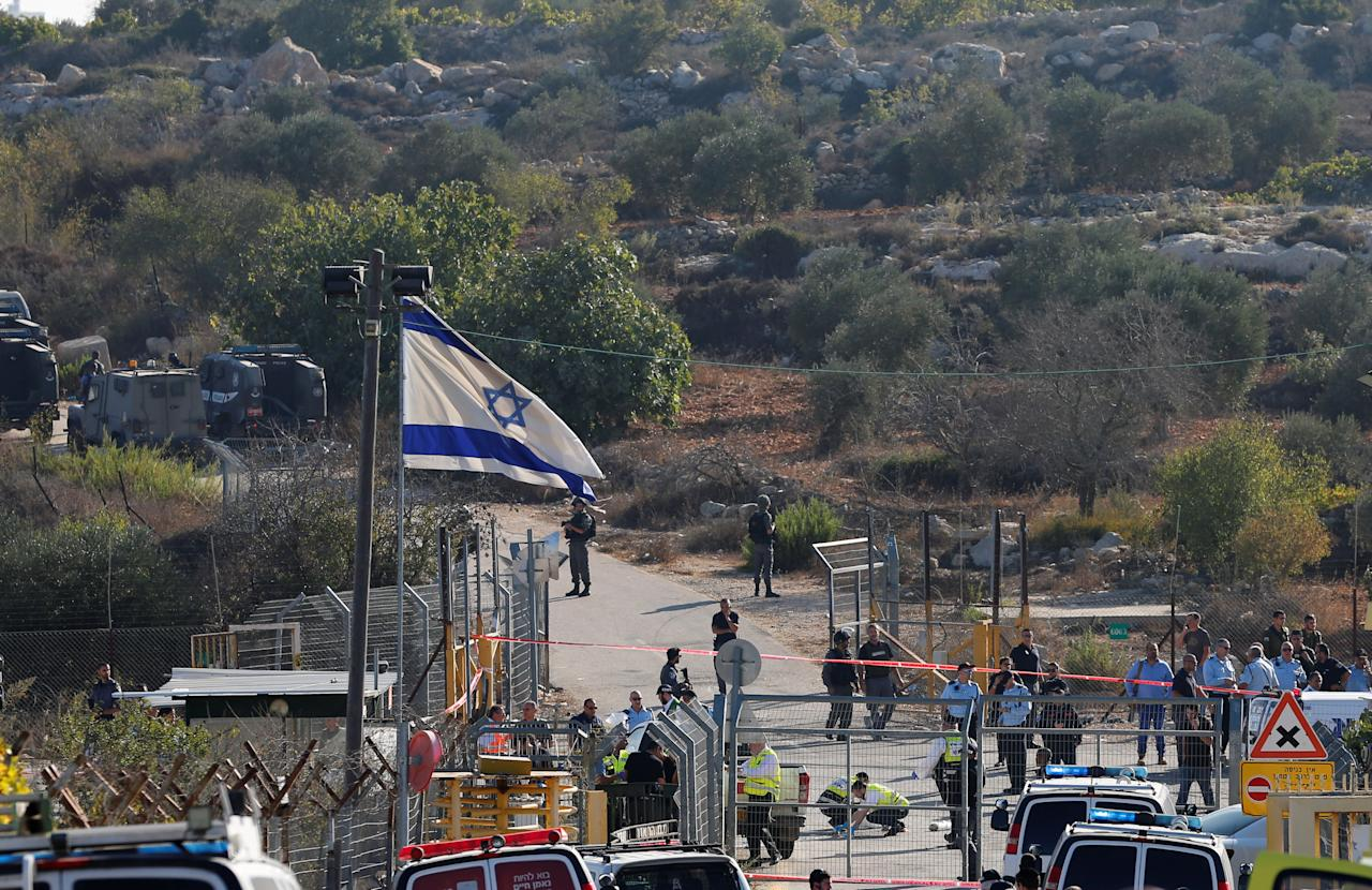 A general view shows the scene where a police spokeswoman said a Palestinian gunman killed three Israelis guards and wounded a fourth in an attack on a Jewish settlement in the occupied West Bank before himself being shot dead, September 26, 2017. REUTERS/Ammar Awad