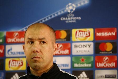 Monaco coach Leonardo Jardim during the press conference