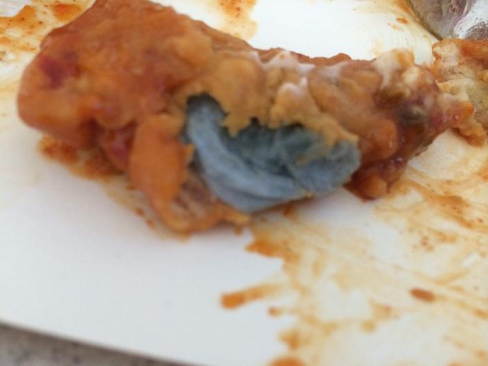 """A mom in Newcastle, England, was horrified when her 7-year-old's meal from KFC turned out to be a deep-fried paper towel. <a href=""""http://www.huffingtonpost.com/2014/06/30/kfc-deep-fried-blue-paper-towel_n_5544033.html"""" rel=""""nofollow noopener"""" target=""""_blank"""" data-ylk=""""slk:Click here to read the whole story."""" class=""""link rapid-noclick-resp"""">Click here to read the whole story.</a>"""