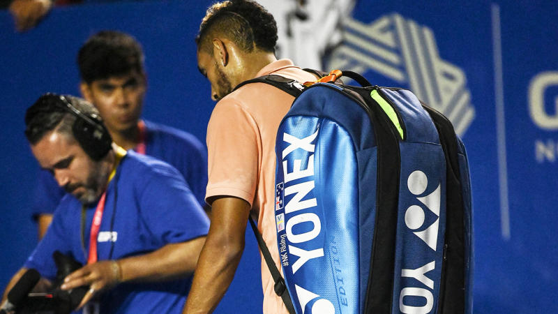 Nick Kyrgios, pictured here leaving the court after retiring hurt in Mexico.