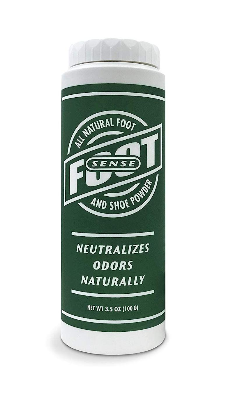 "Find&nbsp;<a href=""https://www.amazon.com/SENSE-Natural-Smelly-Foot-Powder/dp/B00O2DQO4C/ref?tag=thehuffingtop-20&amp;th=1"" target=""_blank"" rel=""noopener noreferrer""></a><strong><a href=""https://www.amazon.com/SENSE-Natural-Smelly-Foot-Powder/dp/B00O2DQO4C/ref?tag=thehuffingtop-20&amp;th=1"" target=""_blank"" rel=""noopener noreferrer"">FOOT SENSE All Natural Smelly Foot &amp; Shoe Powder</a></strong> for $14 on Amazon."