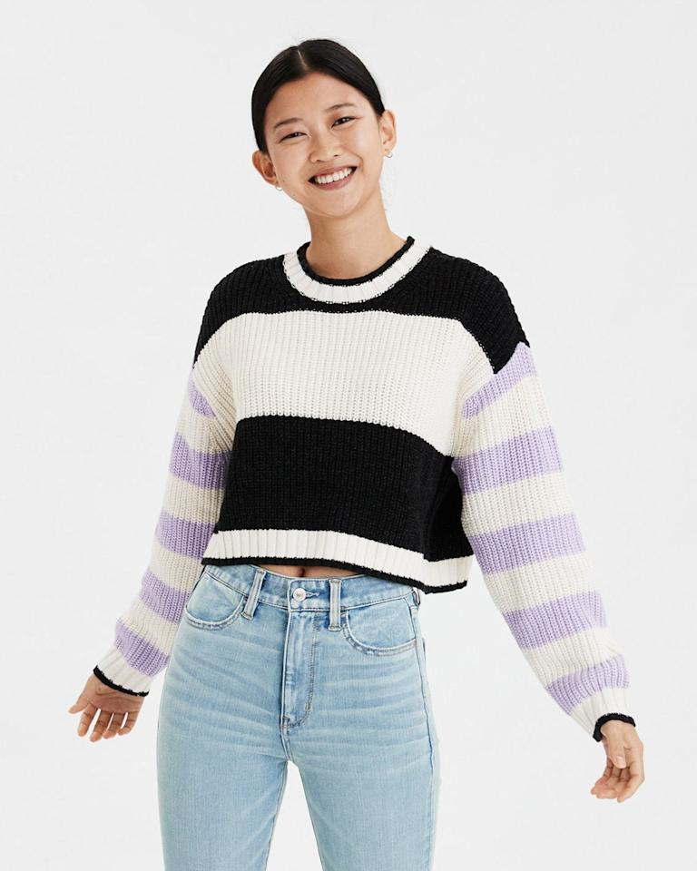 "$27.96, American Eagle. <a href=""https://www.ae.com/us/en/p/women/sweaters-cardigans/pullover-sweaters/ae-mixed-stripe-boxy-cropped-sweater/0348_8588_580?isFiltered=false&nvid=plp%3Acat360012&menu=cat4840004"">Get it now!</a>"