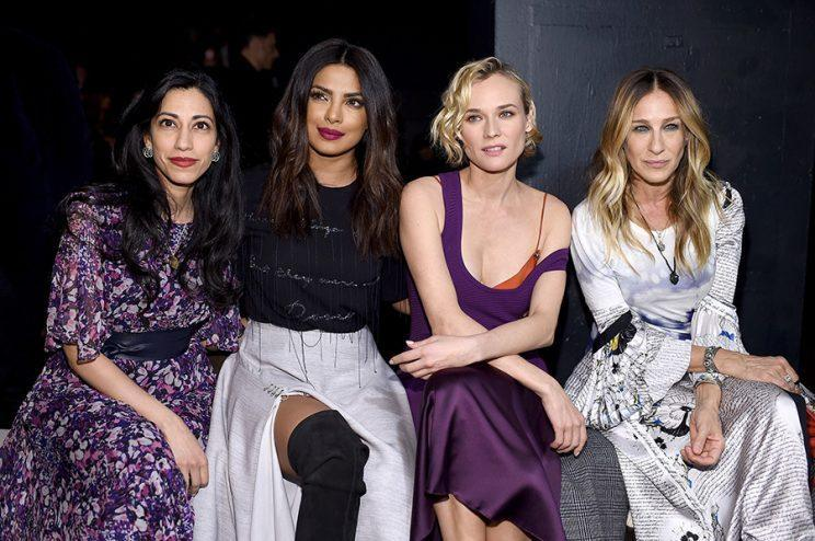 From left, Huma Abedin, Priyanka Chopra, Diane Kruger, and Sarah Jessica Parker attend the Prabal Gurung show. (Photo: Getty Images)