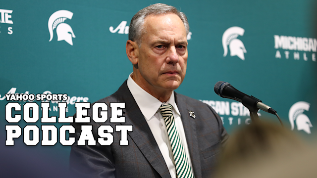 """EAST LANSING, MI - FEBRUARY 04: Head coach Mark Dantonio of the <a class=""""link rapid-noclick-resp"""" href=""""/ncaaf/teams/michigan-st/"""" data-ylk=""""slk:Michigan State Spartans"""">Michigan State Spartans</a> addresses the media after announcing his retirement before the game between the Michigan State Spartans and Penn State Nittany Lions at the Breslin Center on February 4, 2020 in East Lansing, Michigan. (Photo by Rey Del Rio/Getty Images)"""