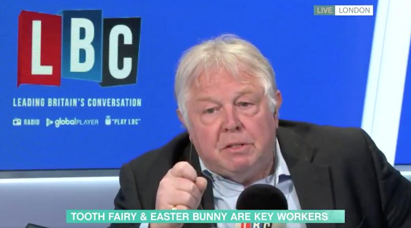 """Nick Ferrari does not believe the Easter bunny should be referred to as an """"essential worker"""" (Photo: ITV)"""