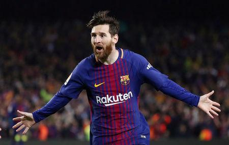 FILE PHOTO: Soccer Football - La Liga Santander - FC Barcelona v Real Madrid - Camp Nou, Barcelona, Spain - May 6, 2018. Barcelona's Lionel Messi celebrates scoring their second goal. REUTERS/Sergio Perez/File Photo