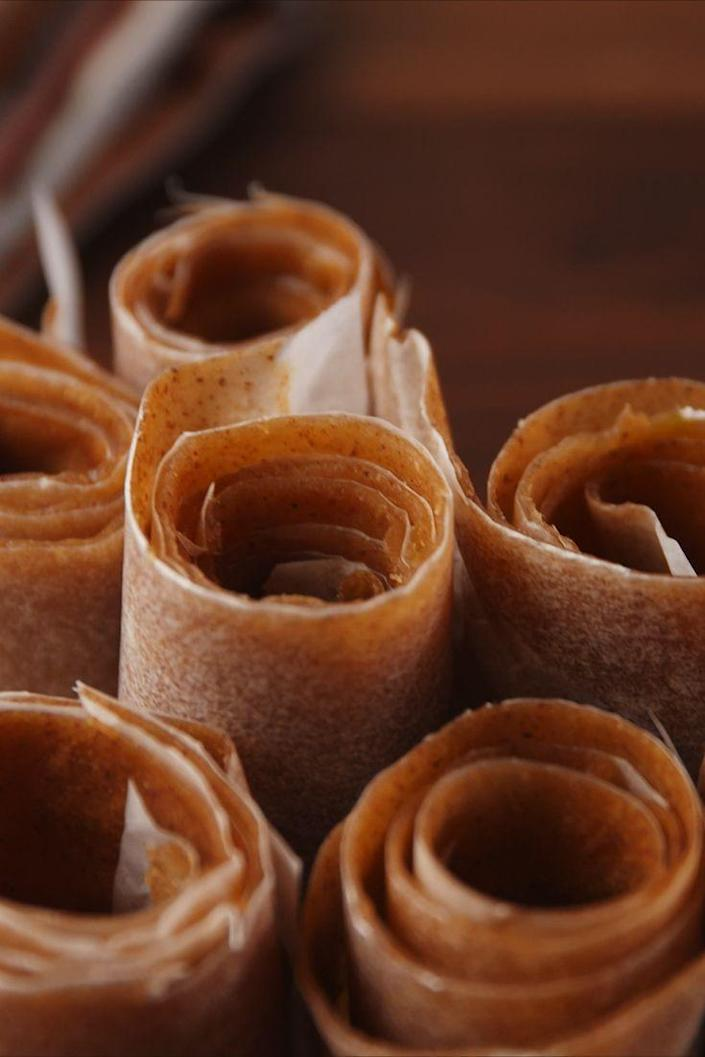"""<p>The homemade version of your favorite childhood snack.</p><p>Get the recipe from <a href=""""https://www.delish.com/cooking/recipe-ideas/recipes/a55795/apple-cinnamon-fruit-roll-ups-recipe/"""" rel=""""nofollow noopener"""" target=""""_blank"""" data-ylk=""""slk:Delish"""" class=""""link rapid-noclick-resp"""">Delish</a>.</p>"""