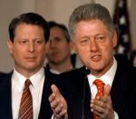 "FILE - In this Jan. 14, 1998, file photo as Vice President Al Gore looks on, President Clinton talks in the Grand Foyer of the White House in Washington about his proposed patient ""bill of rights"" to guard against abuses in managed-care health plans. (AP Photo/Ruth Fremson, File)"