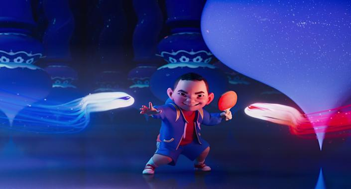 "Chin (voiced by Robert G. Chiu) in the movie ""Over the Moon."""