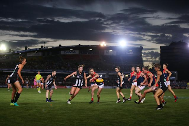 <p>A general view is seen during the round two AFL Women's match between the Collingwood Magpies and the Melbourne Demons at Ikon Park </p>