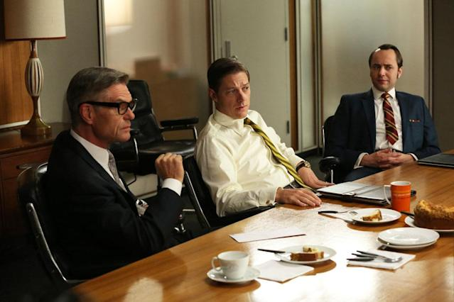 "Jim Cutler (Harry Hamlin), Ted Chaough (Kevin Rahm) and Pete Campbell (Vincent Kartheiser) in the ""Mad Men"" episode, ""A Tale of Two Cities."""