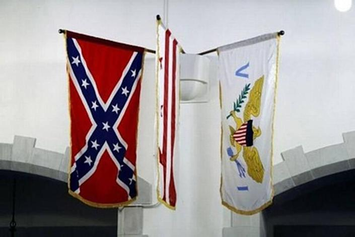 The Confederate flag is one of 57 flags hanging in the Citadel's Summerall Chapel.